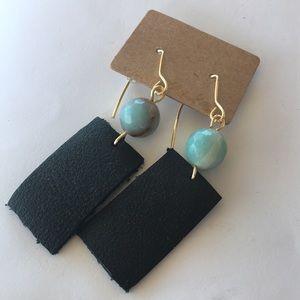 Leather & Amazonite Earrings